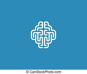 Linear brain logo generate idea design template. Color line android sign. Universal smart mind maze game vector icon.
