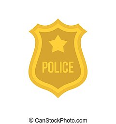 Police badge icon, flat style - Police badge icon in flat...