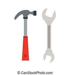 Hammer and wrench icon, flat style - Hammer and wrench icon...