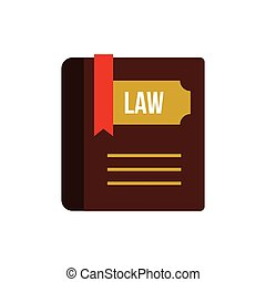 Book of law icon, flat style