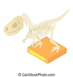 Dinosaur skeleton in museum icon, cartoon style - Dinosaur...