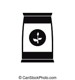 Flower seeds in package icon, simple style - Flower seeds in...