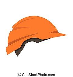 Construction helmet icon, flat style - Construction helmet...