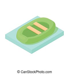 Dinghy inflatable boat icon, cartoon style - Dinghy...