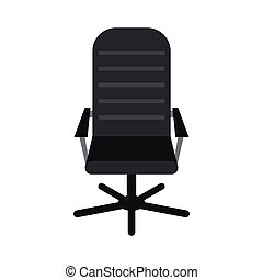 Office leather chair icon, flat style