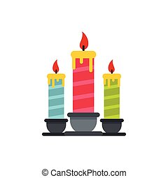 Festive candles icon, flat style - Festive candles icon in...
