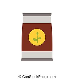 Flower seeds in package icon, flat style - Flower seeds in...