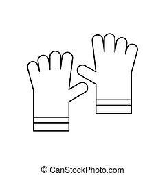 Garden gloves icon, outline style - Garden gloves icon in...