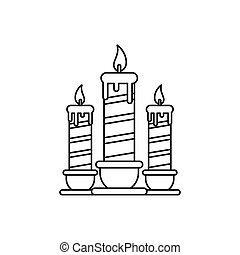 Festive candles icon, outline style - Festive candles icon...