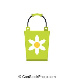 Green bucket icon, flat style - Green bucket icon in flat...