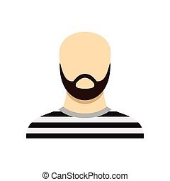 Prisoner with a beard icon, flat style - Prisoner with a...