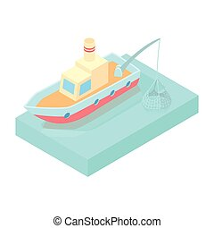 Fishing boat icon, cartoon style - Fishing boat icon in...