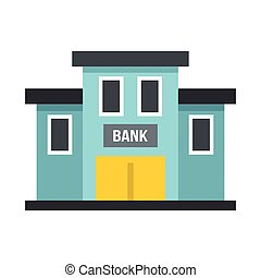 Bank building icon, flat style - Bank building icon in flat...