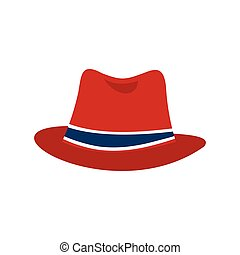 Hat icon, flat style - Hat icon in flat style isolated on...