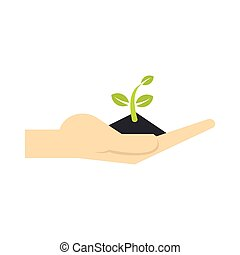 Plant in hand icon, flat style