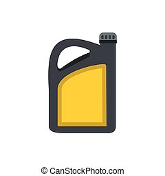 Plastic canister of gasoline icon, flat style - Plastic...