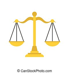 Themis libra icon, flat style - Themis libra icon in flat...