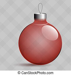 Transparent Christmas toys in the form of a ball. Metal clip.