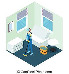 Floor Cleaning Isometric Design