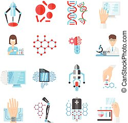 Nanotechnology Flat Icons Set - Nanotechnology flat icons...
