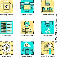 Datacenter Linear Concept - Datacenter linear concept with...