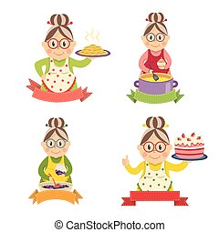 Housewife Characters Set - Housewife characters set with...