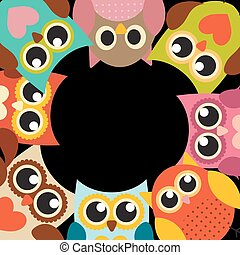 Cute Owl Pattern Background with Place for Your Text Vector Illustration