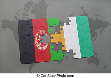 puzzle with the national flag of afghanistan and cote...