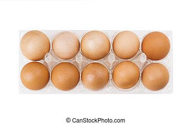 marrón, huevos, en, el, plástico, caja,...