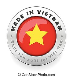 Made in Vietnam button with vietnamese translation vector