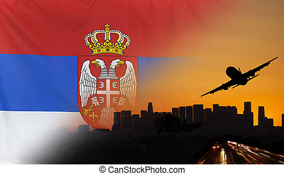 Serbia fabric Flag Travel and Transport Concept - Travel and...