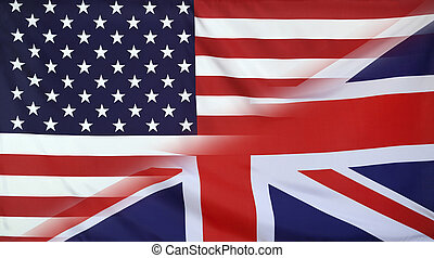 Great Britain and USA Flag merged - USA and Great Britain...