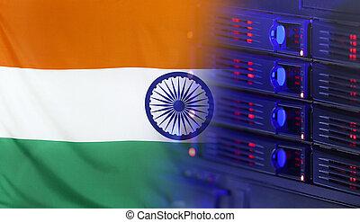 India, bandera, concepto, tecnología
