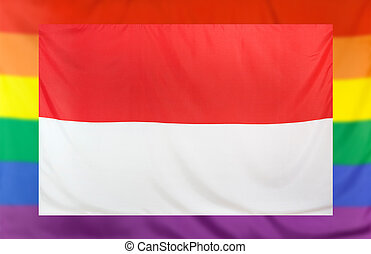 Flag of Indonesia and rainbow flag - LGBT movement concept...
