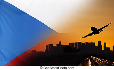 Czech Republic fabric Flag Travel and Transport Concept -...