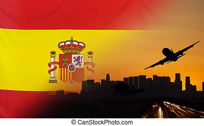 Spain fabric Flag Travel and Transport Concept - Travel and...
