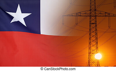 Energy Concept Chile Flag with sunset power pole - Concept...