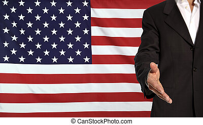 Open hand and USA flag in the background - Businessman with...