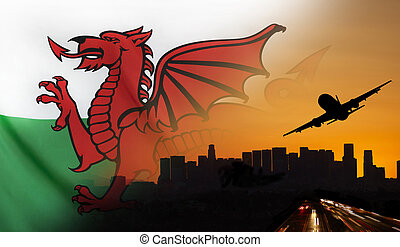 Wales fabric Flag Travel and Transport Concept - Travel and...