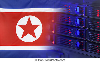 Technology Concept with Flag of North Korea - Technology...