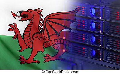 Technology Concept with Flag of Wales - Technology concept...