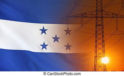 Energy Concept Honduras Flag with sunset power pole -...