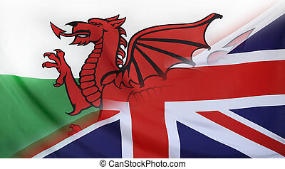 Great Britain and Wales Flag merged - Wales and Great...