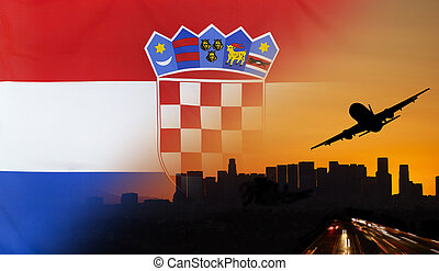 Croatia fabric Flag Travel and Transport Concept - Travel...