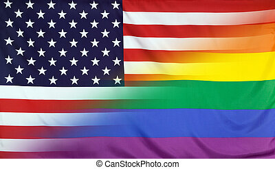 Rainbow Flag merged with Flag of USA - LGBT movement concept...