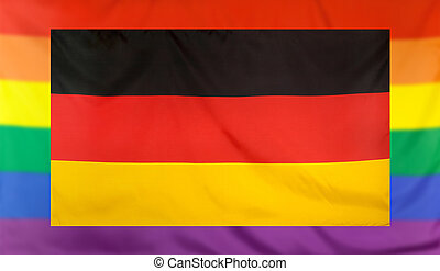Flag of Germany and rainbow flag - LGBT movement concept...