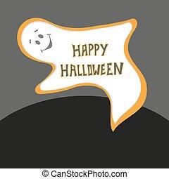 asustadizo, tarjeta, fantasma, cartel, Halloween, feliz, gh...