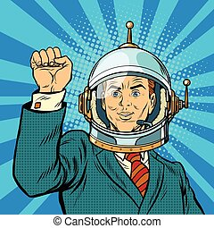 businessman astronaut hand in a gesture of unity, pop art...