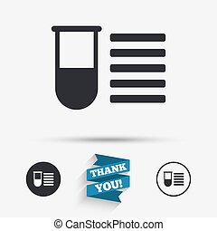 Medical test tube sign icon. Lab equipment. - Medical test...