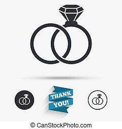 Wedding rings sign icon Engagement symbol Flat icons Buttons...
